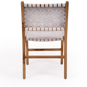 Pasadena Woven Leather Side Chair – White - Notbrand