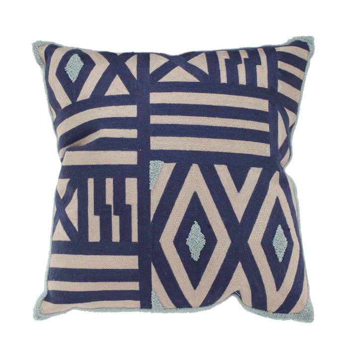 Patterned Taupe Blue & Green Cushion - Notbrand
