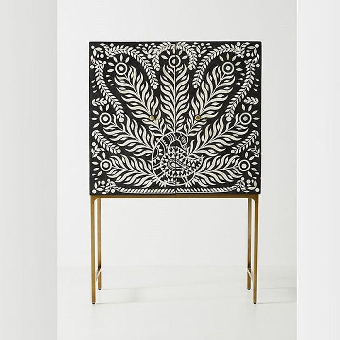 Charlotte Peacock Design Bone Inlay Bar Cabinet - Notbrand