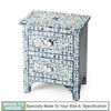 Pihu Bone Inlay 2 Drawers Side Table Floral Design Blue - Notbrand
