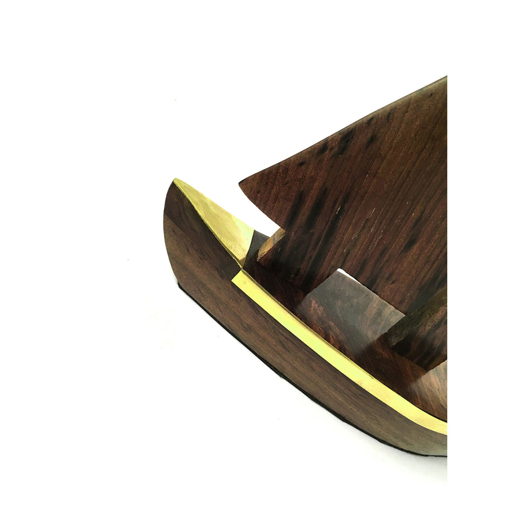 Polished Wood Sailing Boat - 280mm - Notbrand