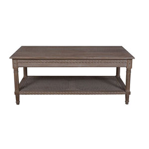 Polo Rectangular Coffee Table Oak Wash with rattan shelf - Notbrand