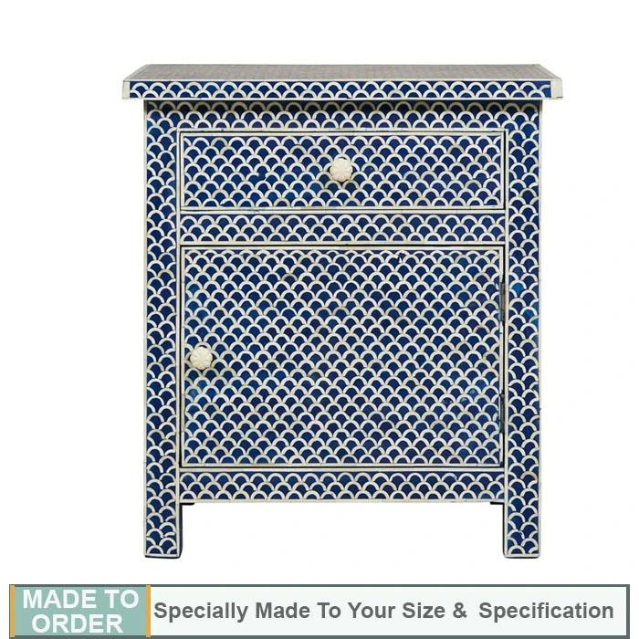 Prisha Bone Inlay Side Table Fish Scale Design Blue - Notbrand