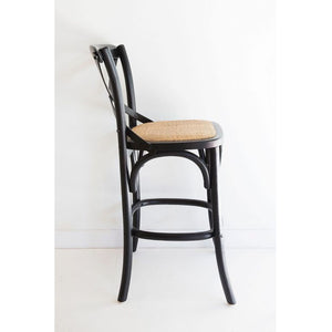 Cross Back Bar Stool – Black - Notbrand