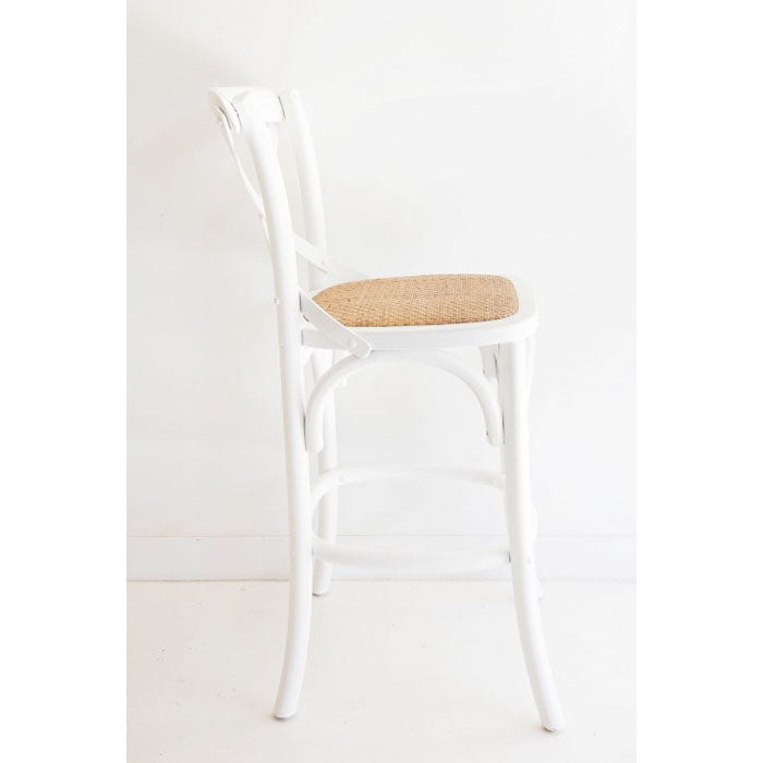 Cross Back Bar Stool – White - Notbrand