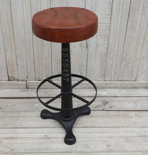 Leather Seat Industrial Barstool - Notbrand