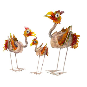 Set Of 3 Wrough Iron Quirky Colonel Sanders Family Bird Sculpture - Notbrand