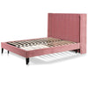 Nelumbo Queen Bed Frame - Blush Peach Velvet - Notbrand