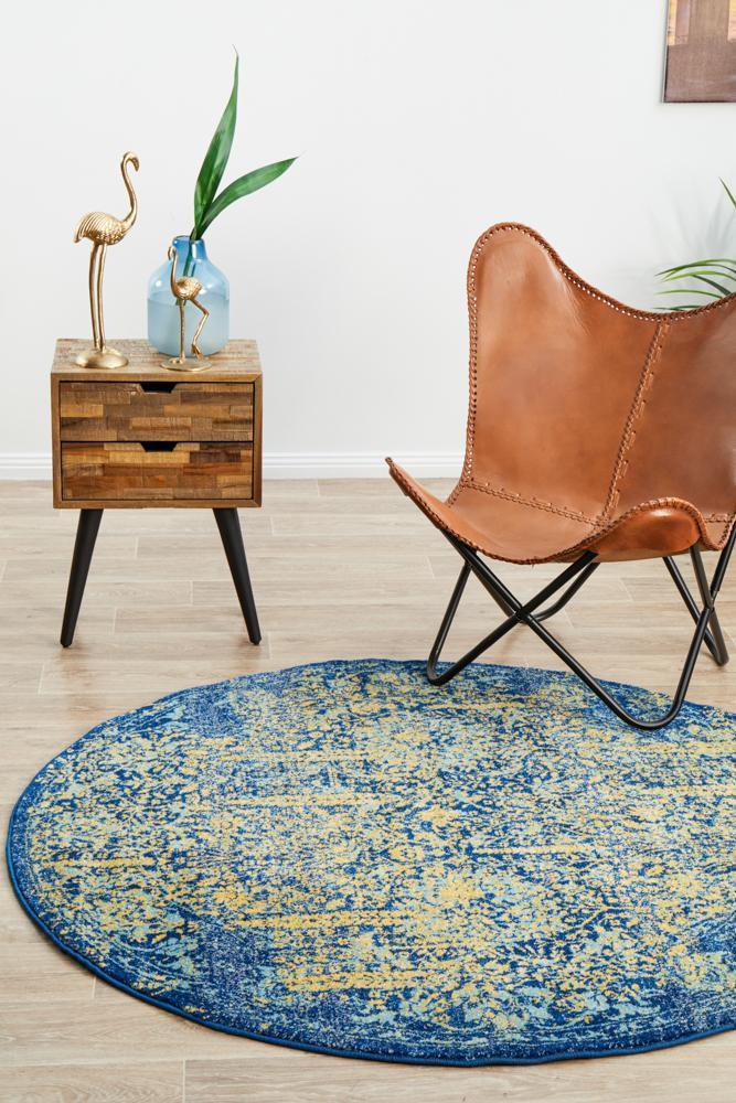 Radiance 411 Royal Blue Round Rug - Notbrand
