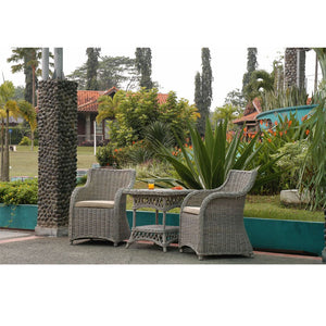 3 Piece Roma Natural KUBU Aged Wicker Set - Notbrand