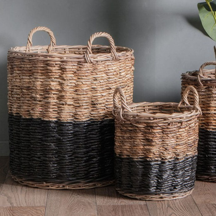 3 Piece Marisol Rattan Baskets Black and Natural - Notbrand