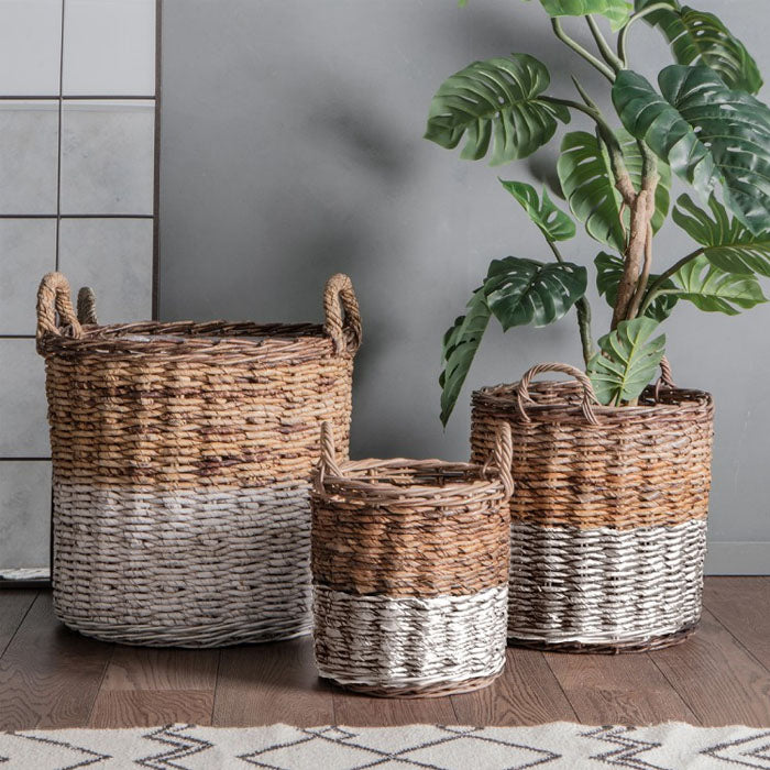 3 Piece Marisol Rattan Baskets White and Natural - Notbrand