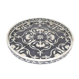Niran Round Bone Inlay Tray Floral Pattern Black - Large