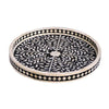 Rai Round Bone Inlay Tray Floral Pattern Black