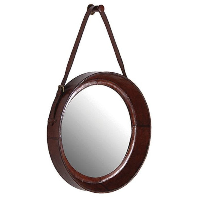 Round Mirror with Dark Leather Border - Notbrand
