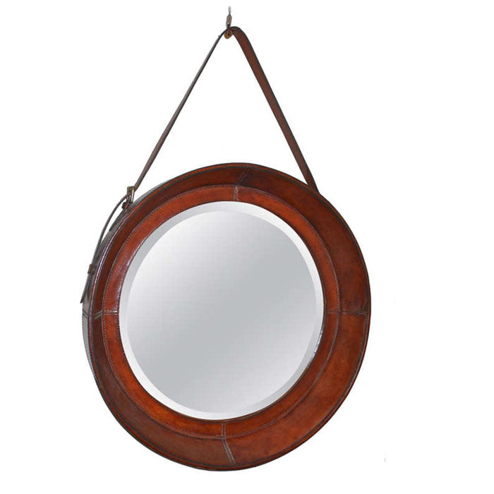 Round Mirror with Tan Leather Border - Notbrand