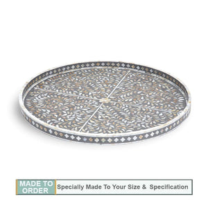 Hiromi Round Mother of Pearl Inlay Tray Floral Pattern Grey - Large