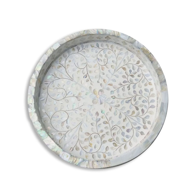 Bae Round Mother of Pearl Inlay Tray Floral Pattern White