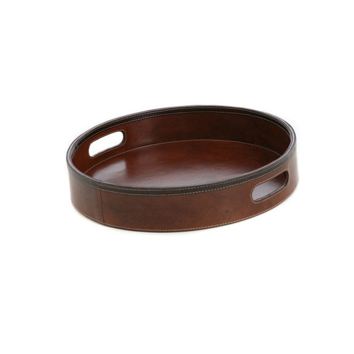 Fergus Tan Leather Round Tray - Notbrand