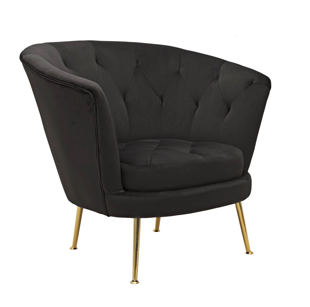 Sophia Black Polyester Fabric Chair