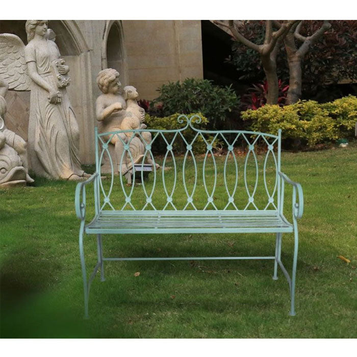 Sage Wrought Iron Bench Sage