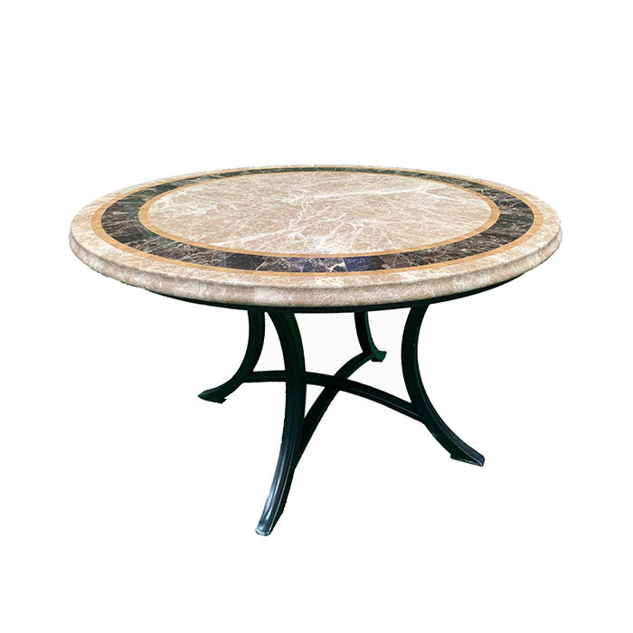 Saturn Round Marble Stone Outdoor Dining Table 120cm - Notbrand