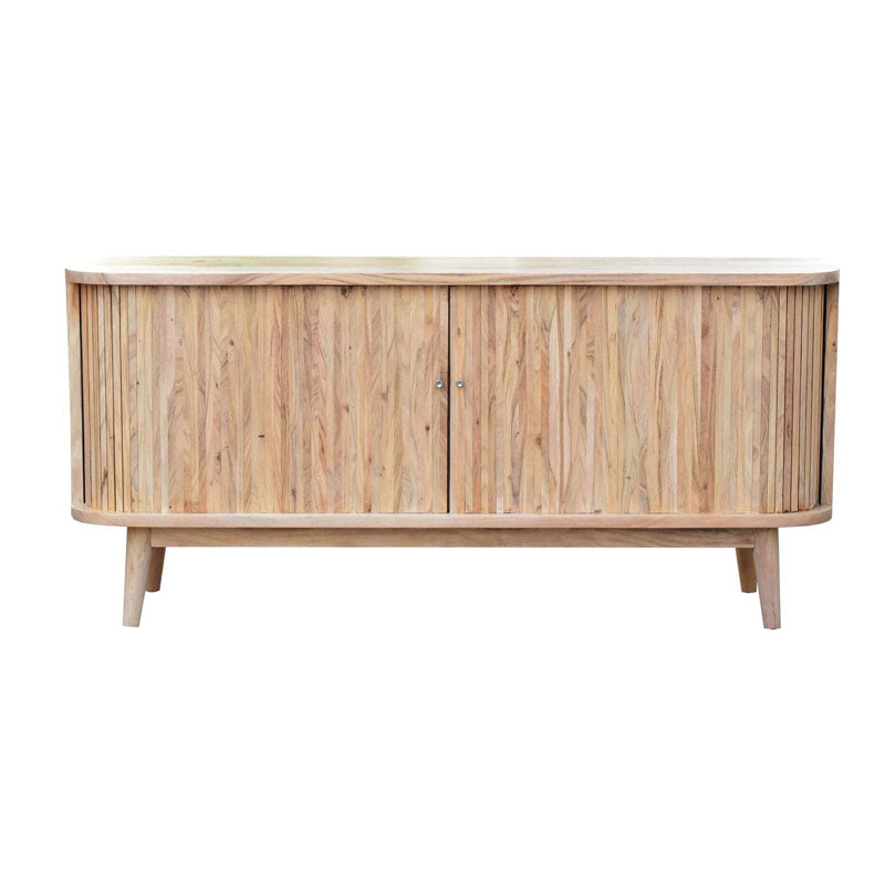 Mid Century Style Slatted Hand-Crafted Hardwood Sideboard - Notbrand