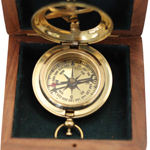 Polished Brass Pocket Sundial Compass - 45mm - Notbrand