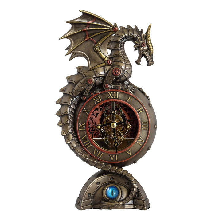 Steampunk Table Clock - Dragon With Dragon Eyes