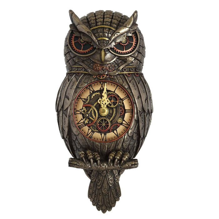 Steampunk Wall Clock - Owl With Wagging Tail