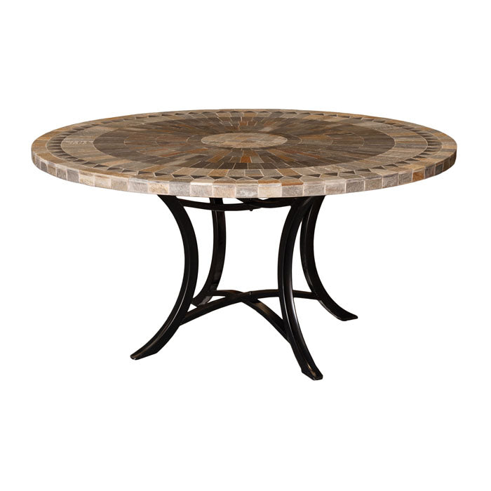 Sunray Round Slate Stone Table - Notbrand