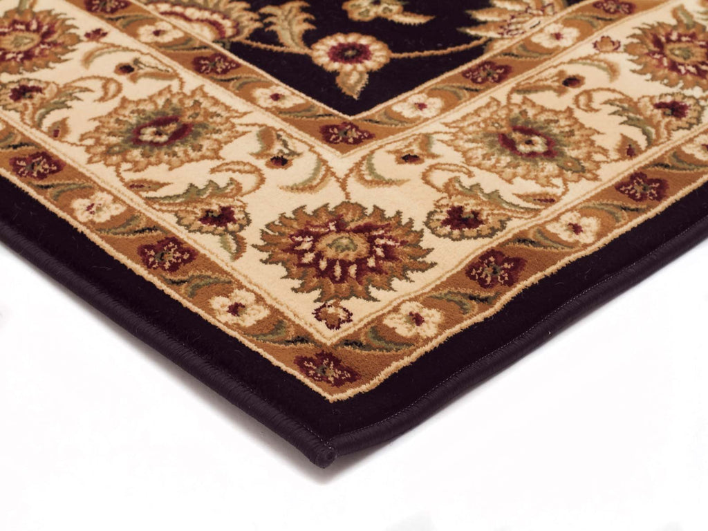 Sydney Classic Runner Black with Ivory Border Runner Rug - Notbrand