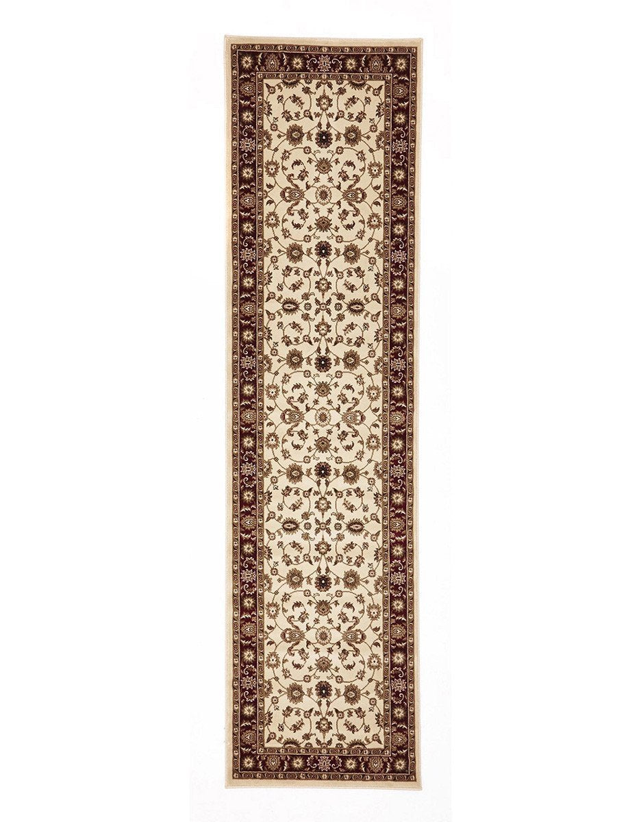 Sydney Classic Runner Ivory with Red Border Runner Rug - Notbrand