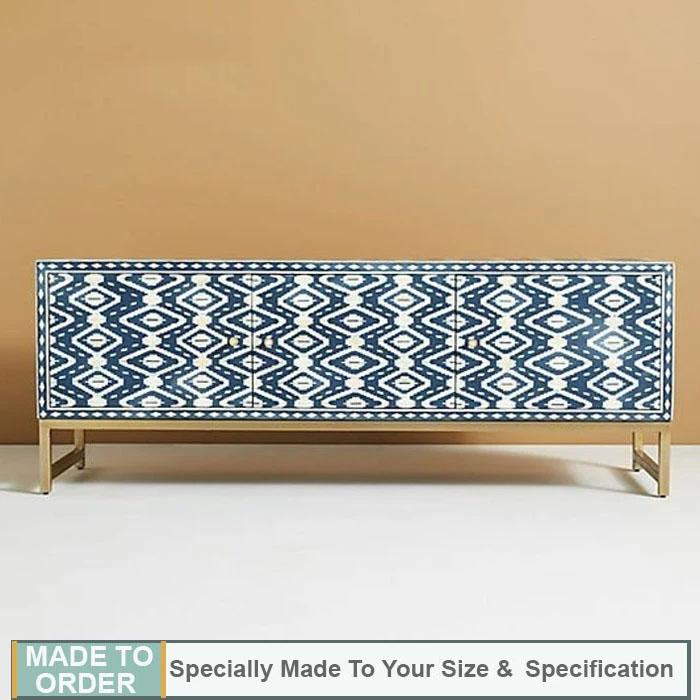 Sandor Bone Inlay Entertainment Unit Ikat Pattern Indigo - Notbrand