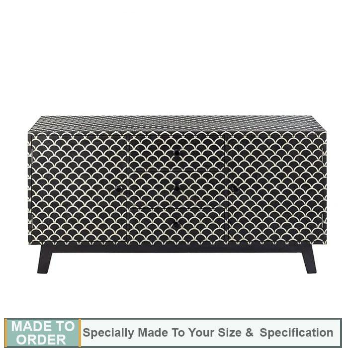 Sansa Mother Of Pearl 2 Door 3 Drawer Fish Scale Buffet Sideboard Black