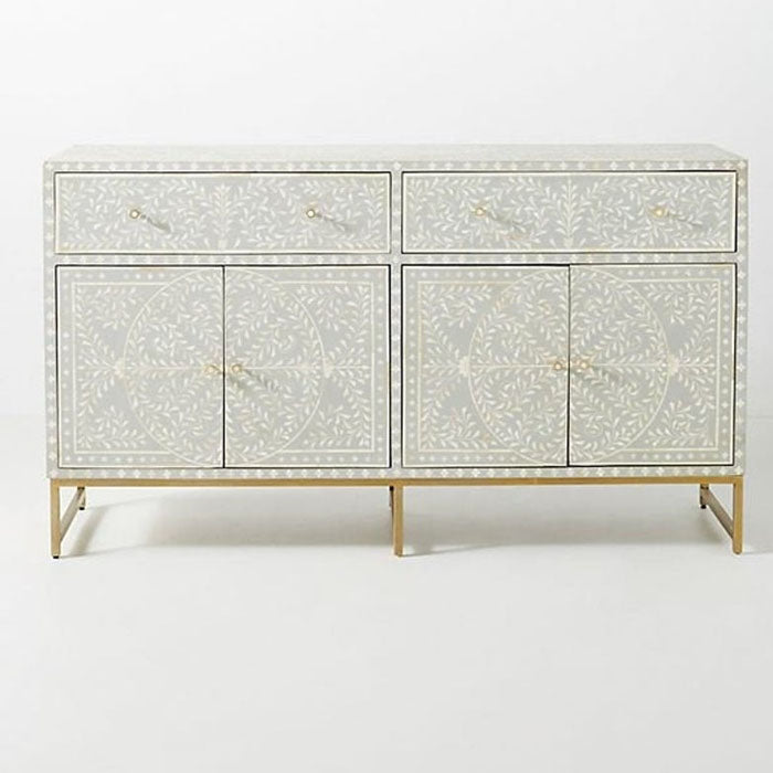 Freda Scroll Vine Bone Inlay Buffet Sideboard Grey - Notbrand