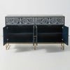 Nicole Scroll Vine Bone Inlay Buffet Sideboard Blue - Notbrand
