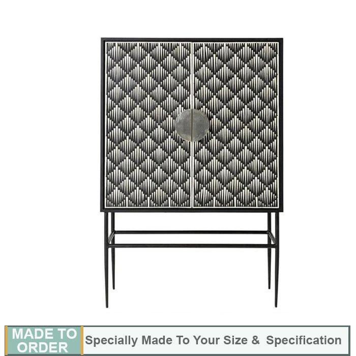 Serenity Bone Inlay Bar Cabinet - Notbrand