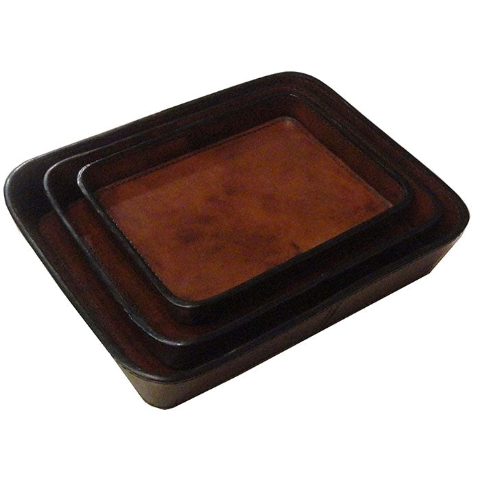 Asteria Set of 3 Tan Leather Trays - Notbrand