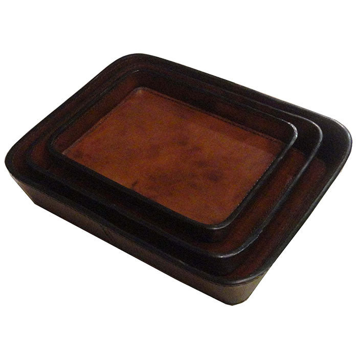 Set of 3 Asteria Dark Leather Trays