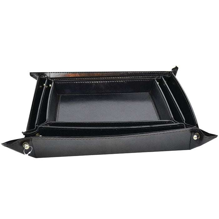 Rockpool Set Of 3 Black Leather Trays - Notbrand