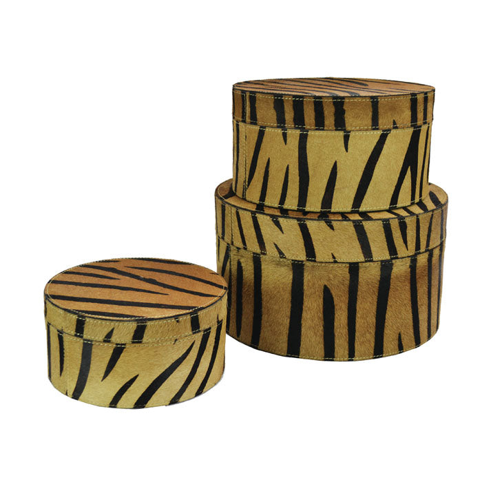 Vanity Set of 3 Zebra Print Leather Round Boxes - Notbrand