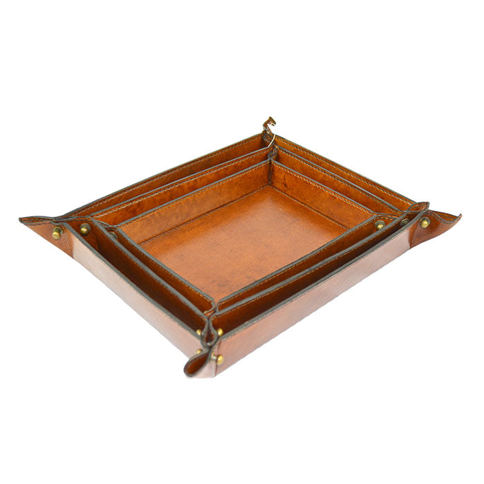 Set of 3 Tan Leather Trays