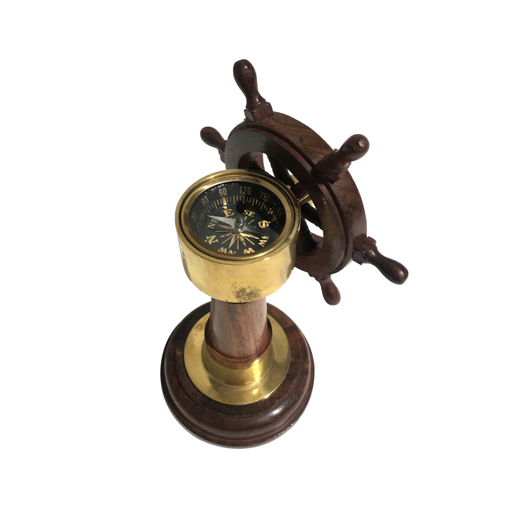 Rose Wood Ship Wheel & Compass - Notbrand