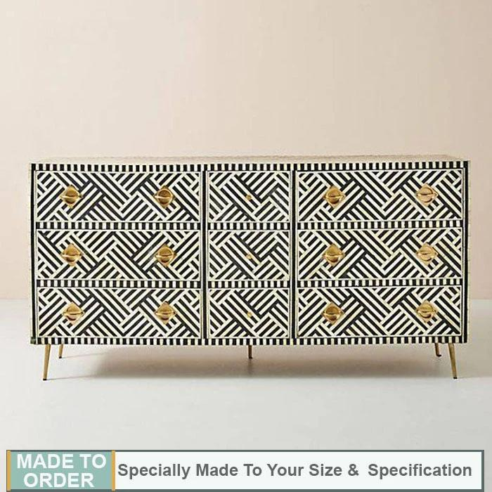 Shirlee+Bone+Inlay+Chest+of+9+Drawers+Dresser+Stripe+Design+Black