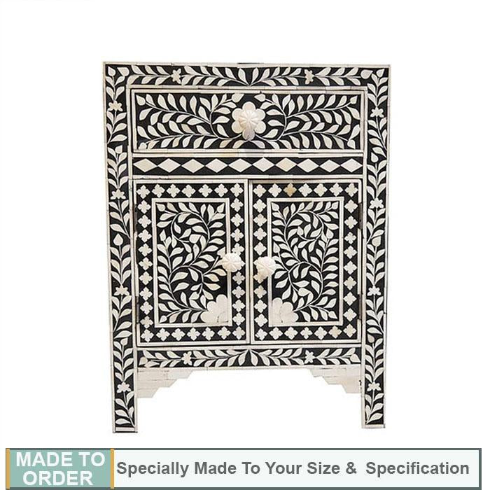 Siti Bone Inlay Floral Side Table 1 Drawer 2 Doors Black - Notbrand