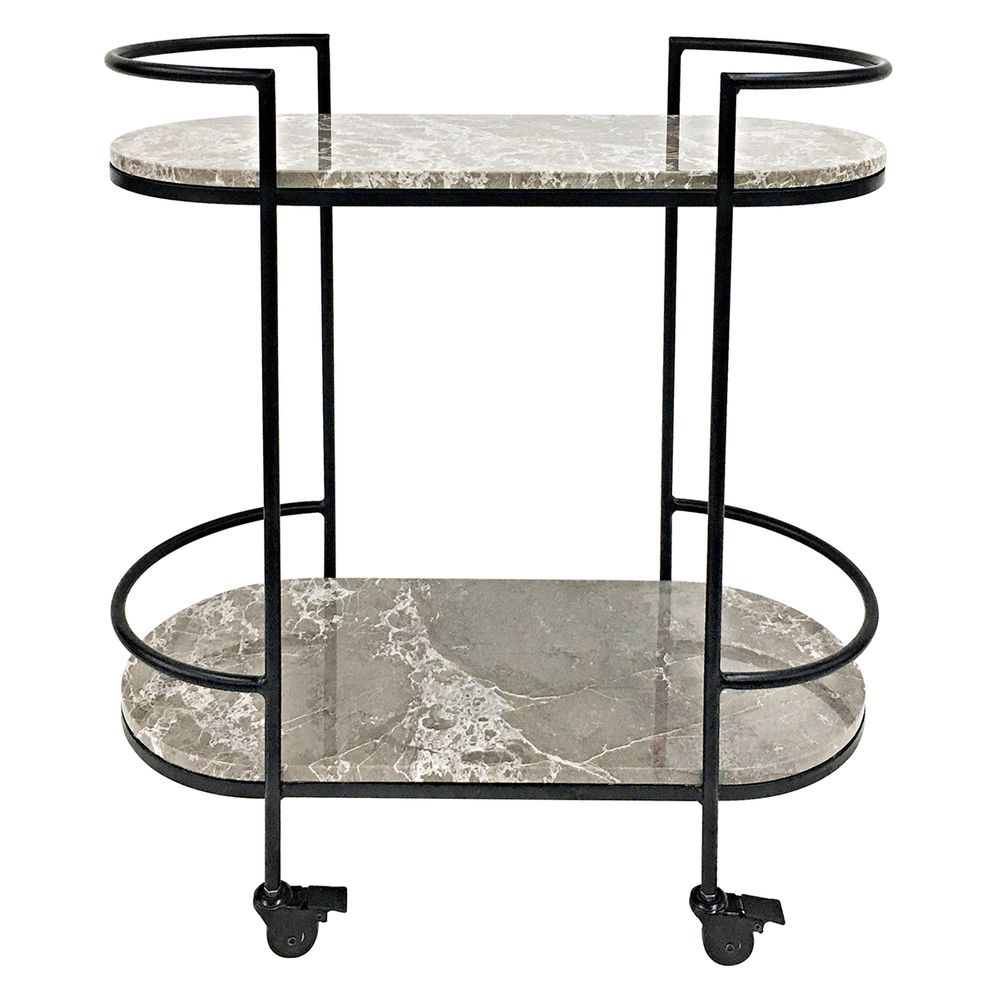 Felgin Marble & Stainless Steel Drinks Trolley - Notbrand