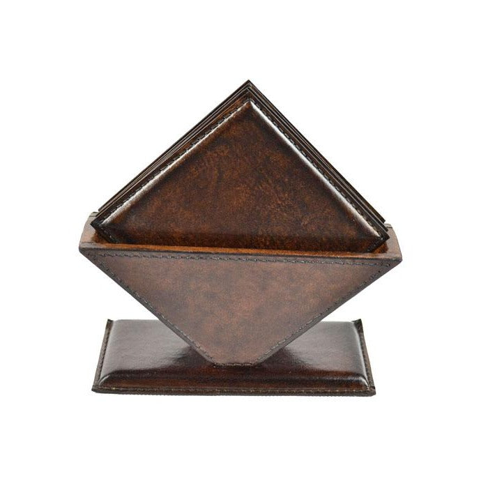 Arneis Dark Leather Square Coasters - Notbrand