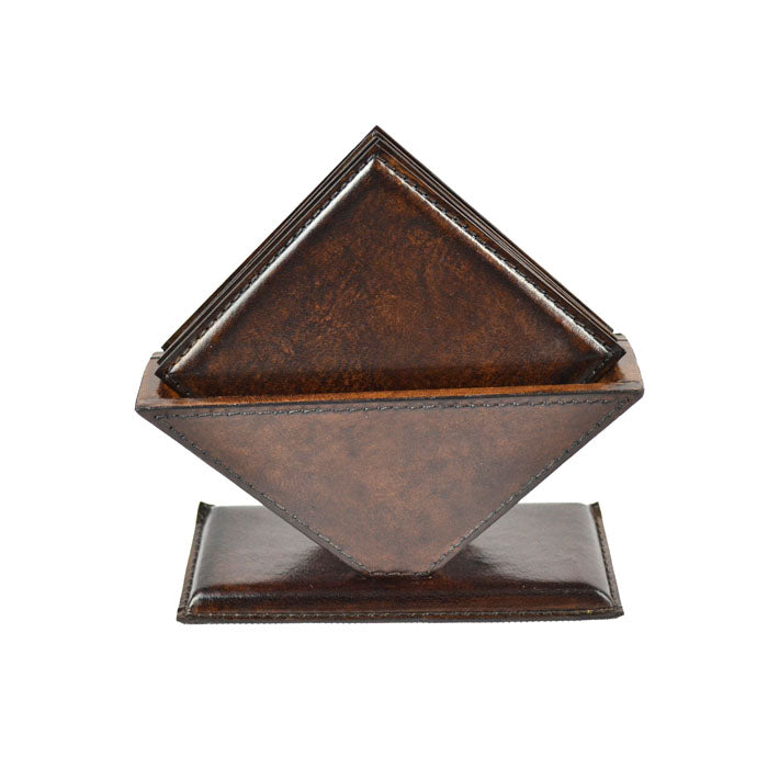 Malfas Dark Leather Square Coasters - Notbrand