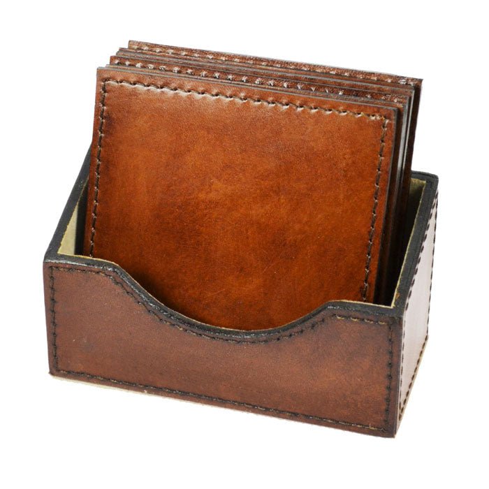 Chardonnay Tan Leather Square Coasters - Notbrand
